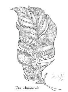Feather by Jana Majlátová Art drawing, zentagle