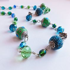 Vintage Handmade Ceramic and Glass Beaded Necklace - Blue, Green and Silvertone Necklace - Unusual Hand-Crafted Beads - Faceted Glass, Metal