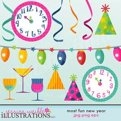 Most Fun New Year Digital Clipart for by JWIllustrations on Etsy, $5.00
