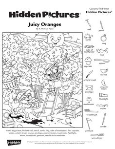 Hidden Pictures Printables, Highlights Hidden Pictures, Hidden Picture Puzzles, Monochromatic Art, Barbie Coloring Pages, Online Art Classes, Jokes And Riddles, Kids English, Hidden Objects