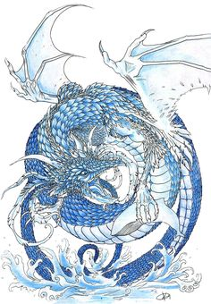 Water Dragon with tribal and dolphin's