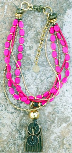 Exotic Pink Necklace: Exotic Hot Pink, Gold and African Brass Pendant Necklace