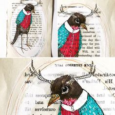 The suitably sartorial feathered friend on vintage paper oldbooks and peculiar personages for your view this midweek afternoon