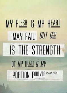 My flesh and my heart have failed failed failed, but Jesus is good and my strength.