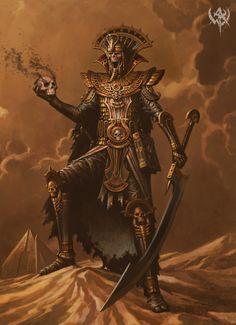 Lich Egyptian Plate Helm Sword Skull Magic Book desert East of the Eastern Border