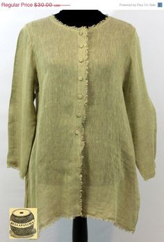 Mothers Day Sale Olive green linen blouse with by Bellafatima