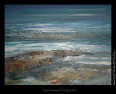 Original Contemporary Abstract Beach Art Seascape by sherischart, $148.75