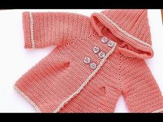 How to make a girl's crochet coat very easy - YouTube
