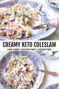 NEWThis keto coleslaw is the tastiest way to get your greens on! Full of crunch cream and pickles-- a DELICOUS twist on the American classic! NEWThis keto coleslaw is the tastiest way to get your greens on! Full of Low Carb Desserts, Low Carb Recipes, Diet Recipes, Healthy Recipes, Primal Recipes, Flour Recipes, Keto Foods, Keto Carbs, Low Carb Coleslaw