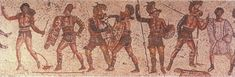 From left, a disarmed and surrendering retiarius and his secutor opponent, a thraex and murmillo, a hoplhus and murmillo (who is signalling his surrender), and the referee (Zliten mosaic, 200 AD)