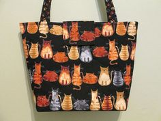 Kitty cat purse/tote quilted by CutePurseNalities on Etsy