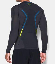 Men's UA HeatGear® Armour Seamless Long Sleeve Shirt, STEALTH GRAY, Back