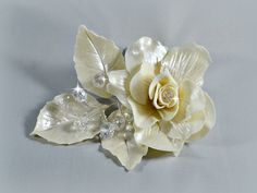 Wedding hair piece, Bridal hair flower comb, Rose with crystals hair adornment, Hair jewellery, White, ivory, cream wedding hair accessories by RitzyFlowers on Etsy
