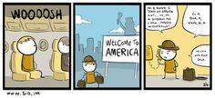 La scoperta del John F. John F Kennedy, International Airport, America, Comics, Funny, Bob, Sketch, Life, Bead