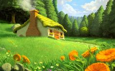 Cottage In The Meadow Wallpaper