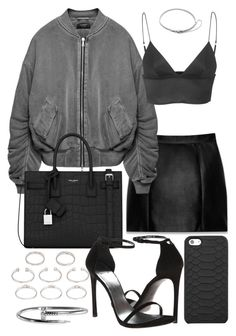 """Untitled #20497"" by florencia95 ❤ liked on Polyvore featuring Yves Saint Laurent, T By Alexander Wang, Stuart Weitzman, Forever 21, GiGi New York and Eddie Borgo"