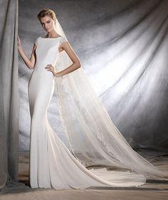 OLBIA - Vestido de novia heho de crepe, tul y encaje de estilo sirena