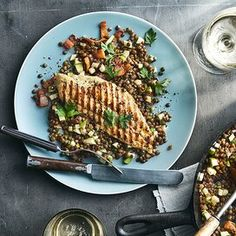 Catfish Recipes, Seafood Recipes, Baked Catfish, French Green Lentils, Sherry Vinegar, Recipe Directions, Lentil Recipes, Lean Protein, Amigurumi