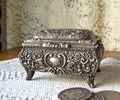 Vintage Jewelry Box Trinket Box Pewter by cynthiasattic on Etsy, $44.00