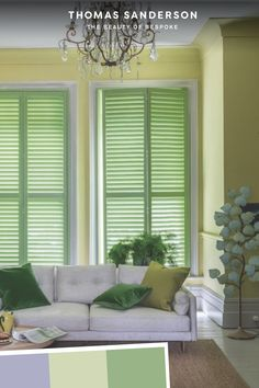 Bring the outdoors in with earthy and vibrant greens, retract your shutters in your living room, to allow the outside world inside, see our range of tracked shutters.