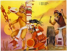 """Zapotec priest, warlord, drummer Zapotec priests would also act as captains and would often appear in battle clad in the skin of flayed victims. The warlord wears the royal crown of Zaachila and is armed with an atlatl. Zapotecs were as cunning and duplicitous as the Mixtecs were fierce and brave when it came to warfare. Source: Osprey Military Men-At Arms series """"Aztec, Mixtec and Zapotec Armies"""" by John Pohl. Illustrator: Angus McBride."""