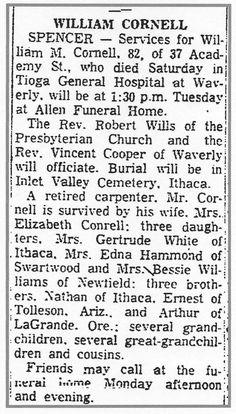 Debby's Family Genealogy Blog: Sunday's Obituary–William Marshall Cornell