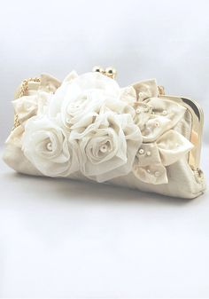 Light Gold Silk Bridal Clutch ABIGALE decorated with by ChicAura