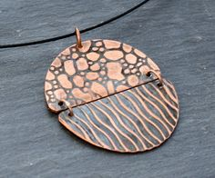 Double Texture Copper Necklace