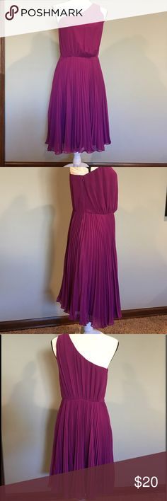 """The Limited Dress Beautiful purple dress from The Limited.  Size 6. Sheer material with a pleated style skirt.  Very fun and flirty.  Built in slip. Would be perfect for a summer wedding.  One should strap with a zipper down the side and an eyelet closure.  Has tiny belt holders but belt is missing. Measures 40"""" from should to bottom hem. 16""""  from shoulder strap to waist line, 18"""" across the chest laying flat, and 24"""" from waist to bottom hem. Made of 100% polyester. Offers considered…"""