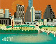 Austin, Texas Skyline - 8 x 10 Wall Art Poster Print for Home Decor, Office,
