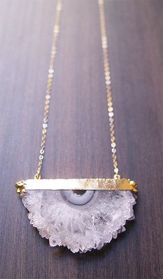 Druzy Amethyst Stalactite Necklace in Gold by friedasophie on Etsy, $89.00