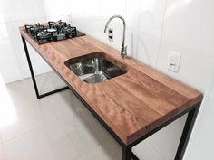 Loft Kitchen, Kitchen Dinning, Kitchen Cabinet Design, Kitchen Cabinets, Kitchen Furniture, Furniture Design, Wood Steel, Geronimo, Kitchenette
