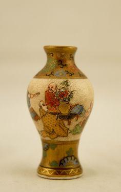 SIGNED Seikozan Miniature Meiji Japanese Satsuma Ware Painted Figural Deity Vase in Antiques, Asian Antiques, Japan | eBay