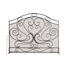 "39""W x 31""H Graphite Shakespeare's Garden Fireplace Screen - click to enlarge"