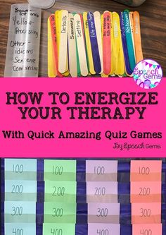 Energize you therapy groups with quick amazing quiz games Articulation Therapy, Articulation Activities, Speech Activities, Speech Language Pathology, Speech Therapy Activities, Speech And Language, Counseling Activities, Language Activities, School Counseling