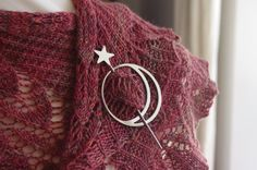 Luna Shawl Pin by NovaSteel on Etsy, €18.00 - as seen on the cover of Knit Edge #4