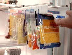 Zip n Store: A Slide-Out Holder For Ziploc Bags In The Fridge