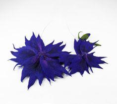 Felted Collar Felt Flower Necklace Cobalt art jewerly nunofelt Nuno felt collar Art deco silk Fiber Art boho