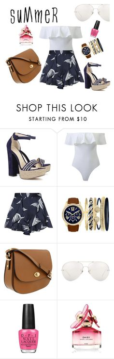 """Summer Chic"" by persephone24 ❤ liked on Polyvore featuring Alexandre Birman, WithChic, C/MEO COLLECTIVE, Jessica Carlyle, Linda Farrow, OPI, Marc Jacobs, Summer, chic and white"
