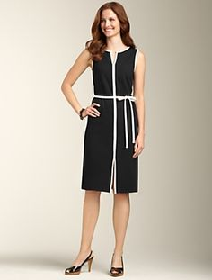 Talbots - Ponte Knit White-Piped Sheath | just bought this dress for Puerto Rico. So pretty on. So simple.