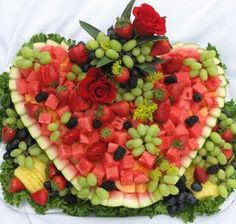 "Heart-Shaped Fresh Fruit Display by Long Island Caterers ""Elegant Eating"""