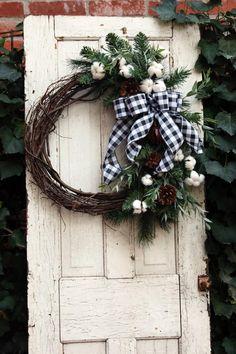 Christmas Ribbon, Christmas Door, Rustic Christmas, Christmas Wreaths, Christmas Ideas, Christmas Challenge, Fall Wreaths, Winter Christmas, Front Door Decor