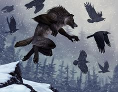"<a href=""http://kyndir.deviantart.com/"" target=""_blank"">Art by Kyndir</a> <br><br>  It is not unknown for werewolves to form symbiotic relationships with other species. In particular werewolves have been seen tending flocks of wild ravens. Ravens being fiercely smart and possessing keen eyesight allow werewolves to scout for prey by wing. The Ravens, motivated by the ability to take a part of the kill for themselves, will alert werewolves to prey animals in their area, and will follow…"