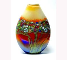 Hand Blown Art Glass Vase  Mango Vines Vase by HansonArtGlass, $375.00
