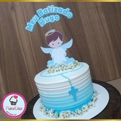😇 . #xuxucakes #vamosadocaromundo #bolodeaniversario #bolo #ganache #ideiasdebolosefestas #bolodeninho #sweetcake #bologourmet #cake… Christening Party, Baptism Party, Boy Baptism, Baby Boy Cakes, Cakes For Boys, Confirmation Cakes, Baptism Centerpieces, Cake Decorating Videos, Small Cake