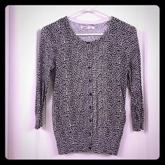 Gray and white polka dot cardigan Old Navy gray and white polka dot cardigan.  The sleeves are 3/4 length.  In excellent condition!  Please make me an offer!  Old Navy Sweaters Cardigans