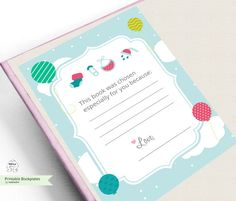 Baby shower-Printable Bookplates Baby Shower by MokileArt on Etsy