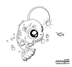 -Traditional art - Ink - * Please note that I'm currently inactive on deviantART. Thank you for understa. Fish Coloring Page, Coloring Pages For Boys, Cartoon Coloring Pages, Colouring Pages, Coloring Books, Boy Coloring, Fish Drawings, Cartoon Drawings, Art Drawings