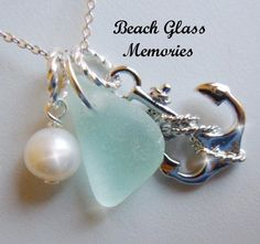 Sea Glass Necklace  Anchor Necklace Beach Glass Jewelry Seaglass Necklace. $22.95, via Etsy.