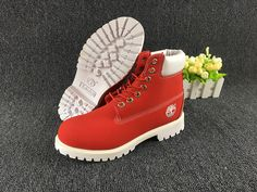 Fashion Winter Timberland 6 inch Premium Boots Red and white For Kids